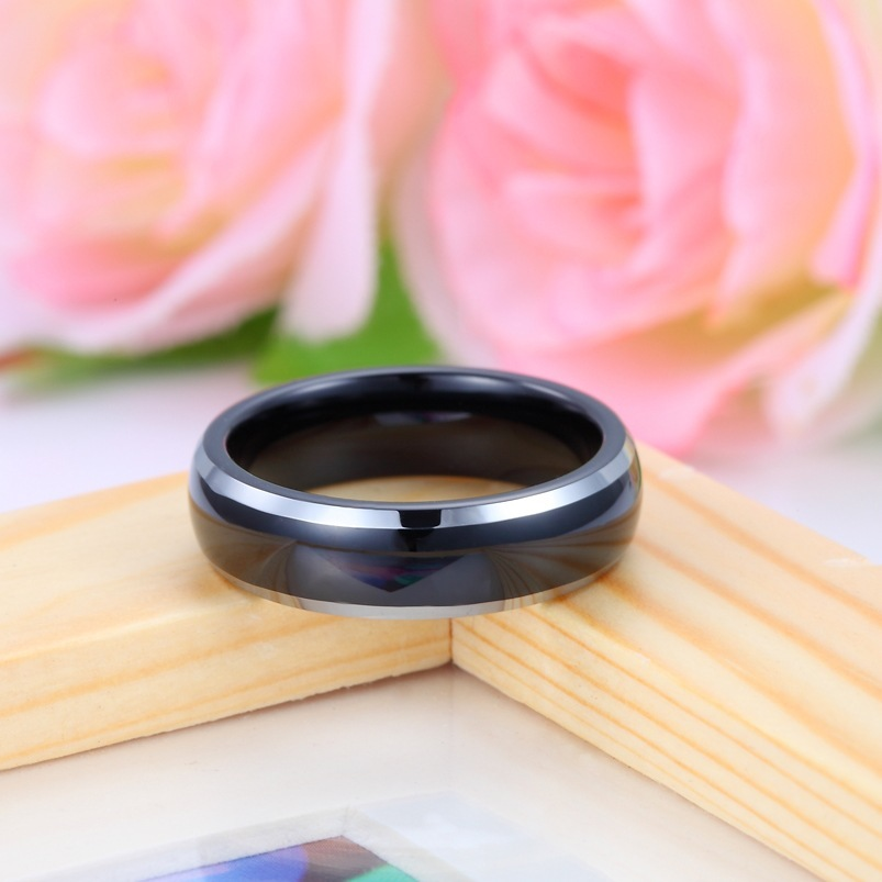 Two Tone Tungsten Wedding Bands Domed Black Gold