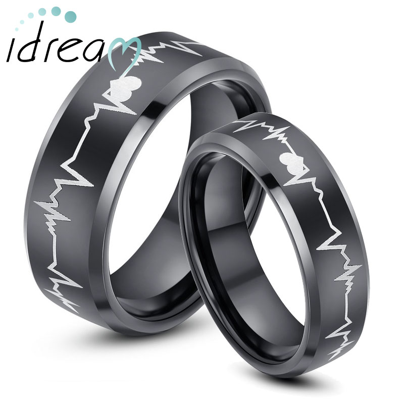 black tungsten wedding bands set for women men hearts and heartbeat laser engraved tungsten - Tungsten Wedding Rings For Men