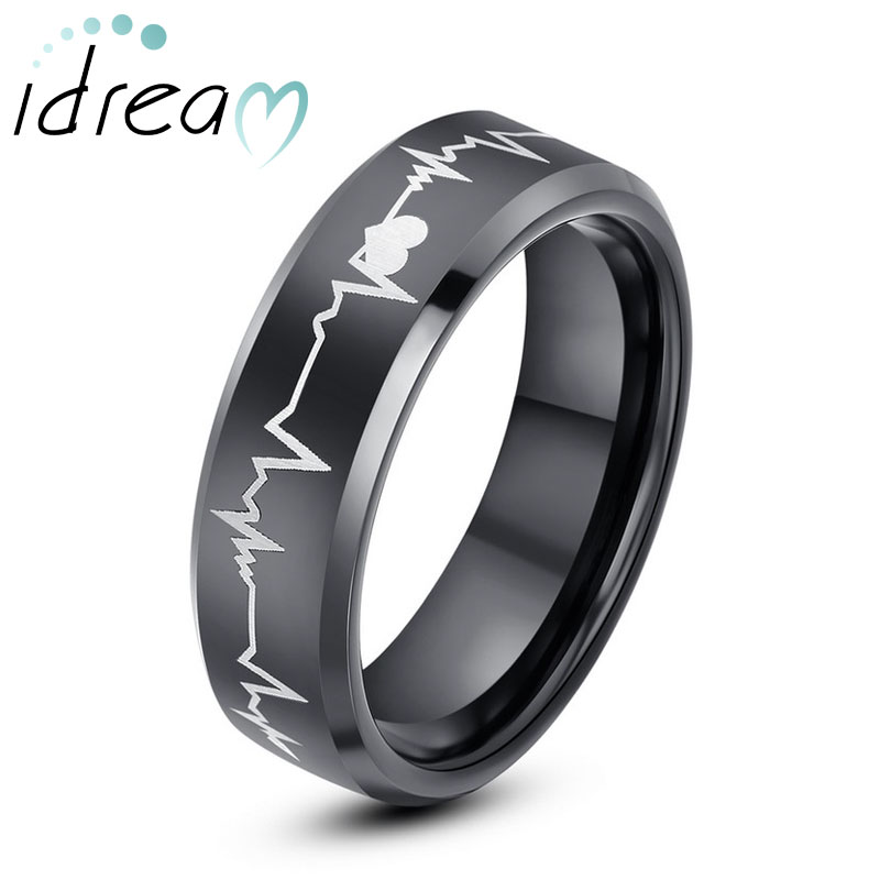 Black Tungsten Wedding Bands, Beat Of My Heart Tungsten Carbide Wedding Band,  Hearts And