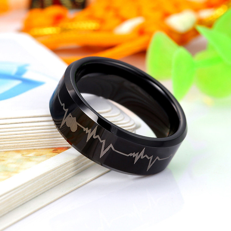 Black Tungsten Wedding Bands Beat of My Heart Tungsten Carbide