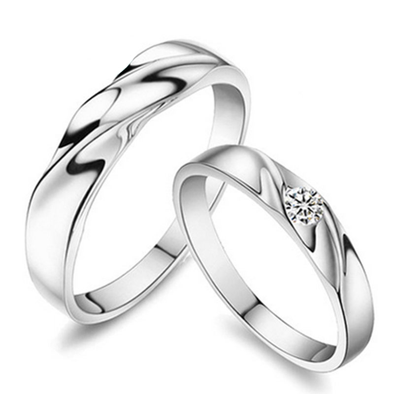 simple wave promise rings set for women and men 925 sterling silver wedding ring band - Silver Wedding Rings