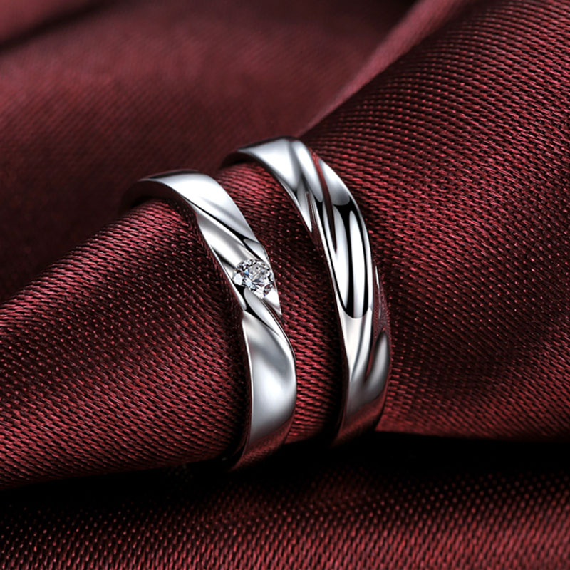 Simple Silver Wedding Rings For Women Simple Wave Pro...