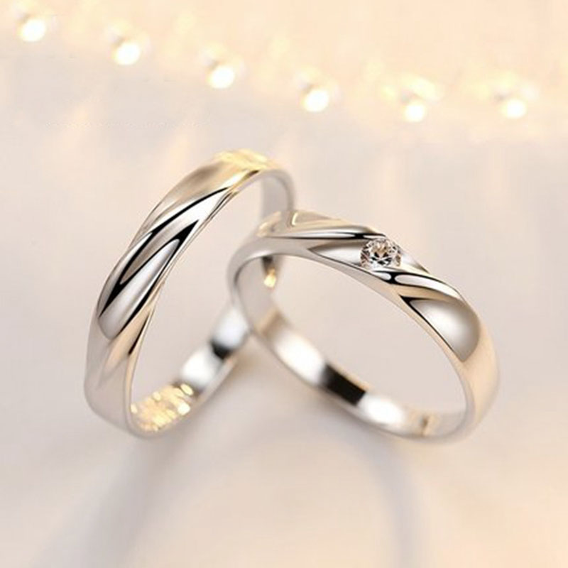 Simple Wave Promise Rings Set For Women And Men Sterling