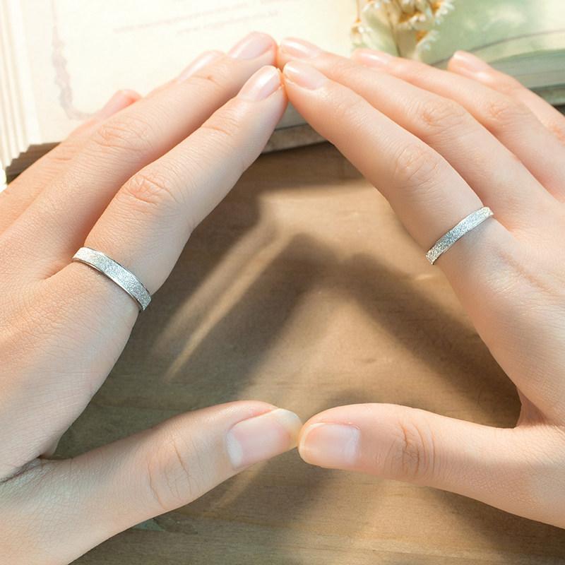 Brushed Center Polished Edges Couple Promise Rings Set