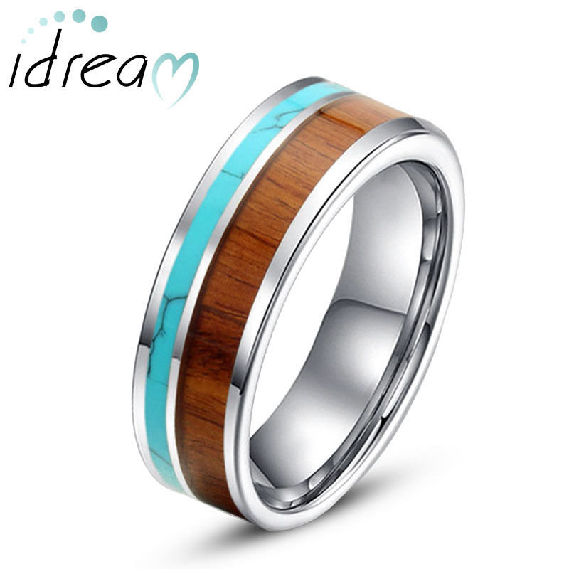 Tungsten Wedding Band, Wood and Turquoise Inlay Tungsten Carbide Wedding Band, 6mm / 8mm Flat Tungsten Wedding Ring, Matching His and Hers Jewelry for Couples